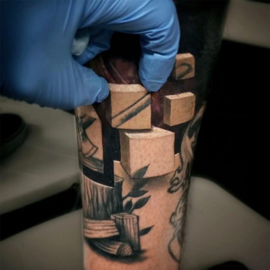 Optical Illusion Tattoos Reveal Worlds Beneath Skin by Jesse Rix