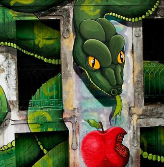 Mural: Serpent Feasts on Apple