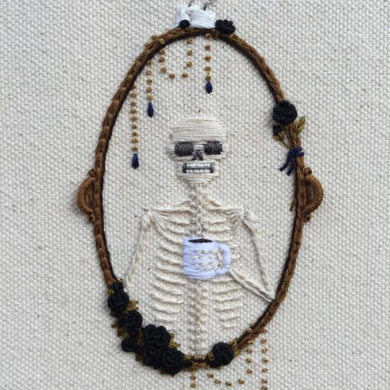 Skeleton Embroideries Full of Life by Tinycup Needleworks