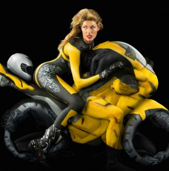 A Human Motorcycle in Body Paint