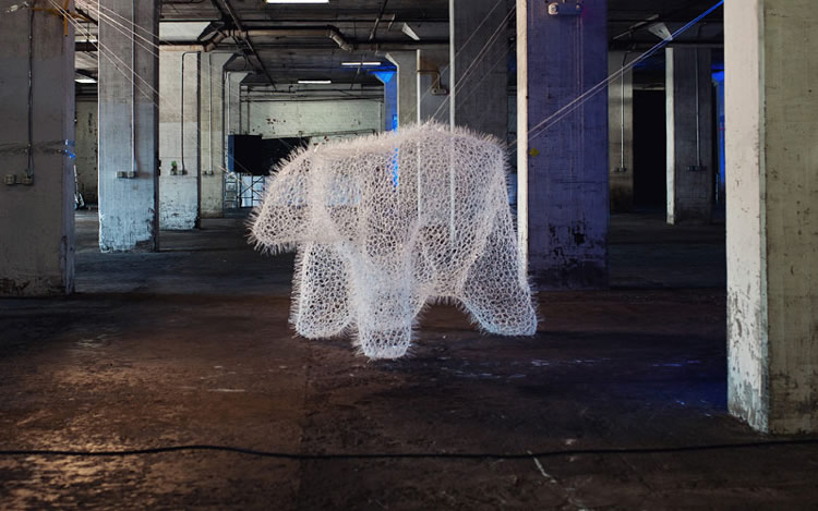 Polar Bear made from 20,000 Plastic Zip Ties