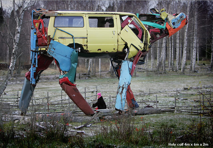Gigantic Cows Made from Car Parts