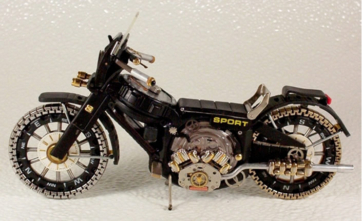 Motorbikes made from Recyled Watch Parts