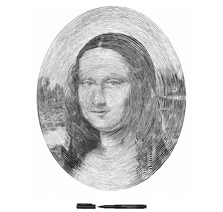 Famous Paintings Drawn in Spirals