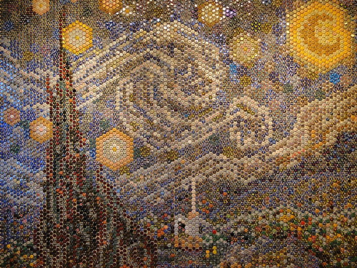 "8,000 Beer Bottle Caps form ""Starry Night"""