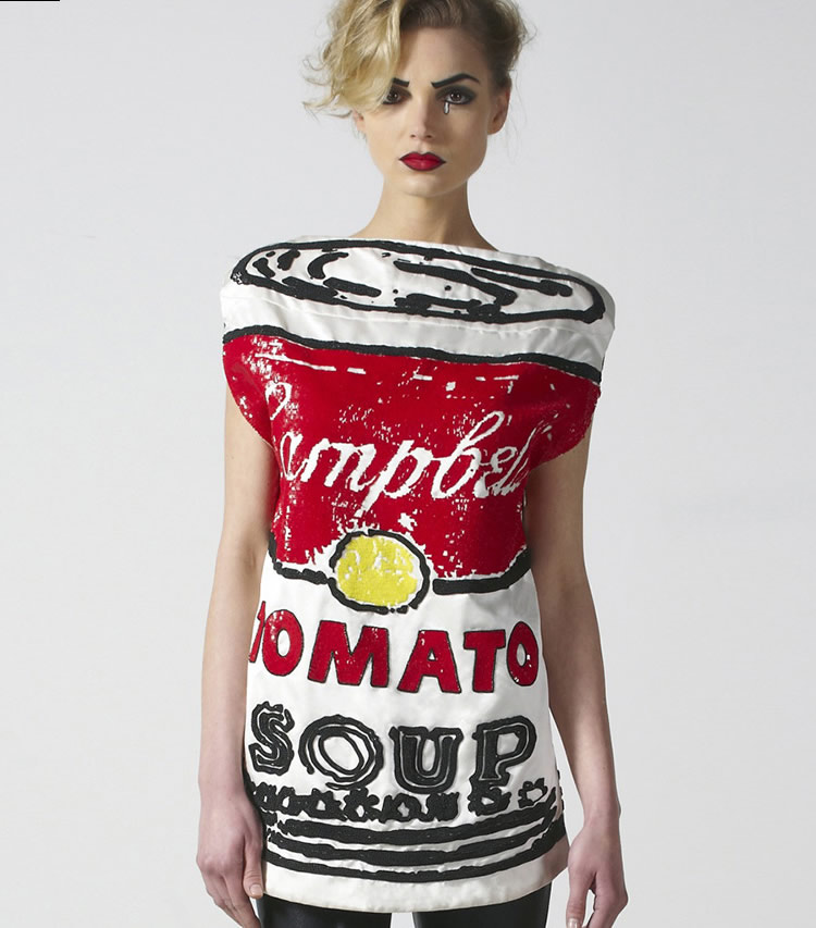 Crazy Couture with Campbell Soup and Urinal Designs